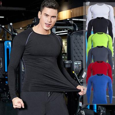 跨境 新款健身服男士训练速干T恤跑步出汗PRO衣弹力长袖运动服春
