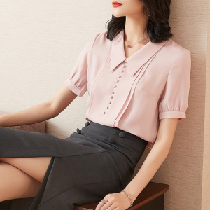 2019夏装新款雪纺衬衫女短袖韩版宽松职业大码衬衣设计感收腰上衣