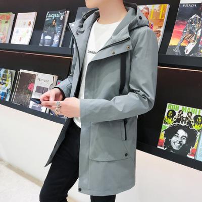 2019春季新款男式夹克风衣中长款休闲宽松大衣青少年连帽风衣外套