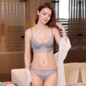 2019新品性感透气不凸点超薄蕾丝文胸套装9236收副乳大码内衣5020