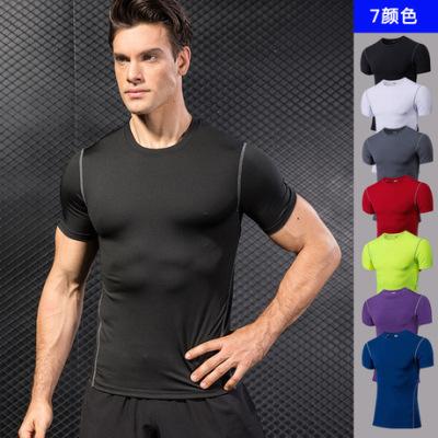 男士紧身训练健身衣 跑步短袖运动服 亚马逊弹力速干衣T恤衫1003