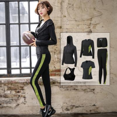 健身服运动套装女秋显瘦速干跑步瑜伽服五件套休闲外套短袖紧身裤
