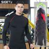 跨境新款健身服男高领弹力紧身衣透气训练速干T恤立领跑步运动服