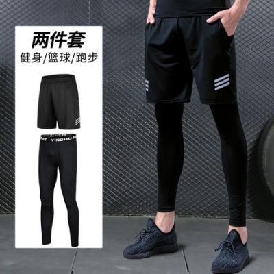 紧身裤男健身套装跑步运动服压缩裤篮球打底裤七分裤高弹速干批发