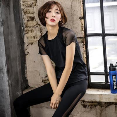 韩版新款瑜伽服夏季秋健身跑步三件套短袖网纱拼接锦纶运动套装女