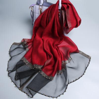 春季新款手工镶珍珠真丝羊毛丝巾 纯色女百搭丝巾 珍珠纹高档围巾