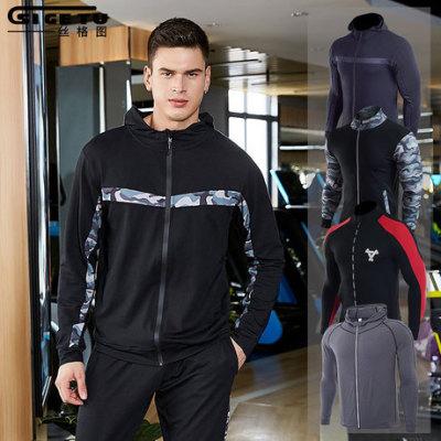 跨境 新款外套拉链连帽运动服男 迷彩拼接健身服休闲运动跑步外套