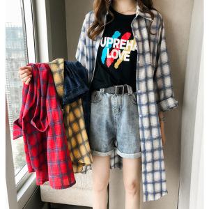 新款chic宽松bf格子衬衫女长袖薄款防晒衣外套中长款衬衣裙子