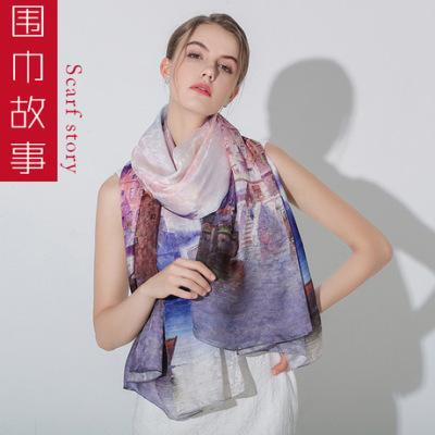 高端上新钜惠【围巾故事】100%桑蚕丝围巾杭州丝绸披肩真丝丝巾女