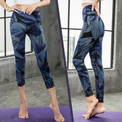 欧美新款数码印花瑜伽裤女高腰运动跑步户外健身裤无缝提臀紧身裤