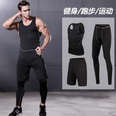 肌肉力量 夏装运动套装健身房运动衣服 男士跑步背心三件套篮球服