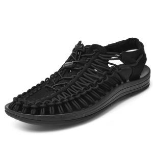 跨境夏季男沙滩鞋户外男士休闲鞋情侣罗马凉鞋包头潮鞋编织男鞋