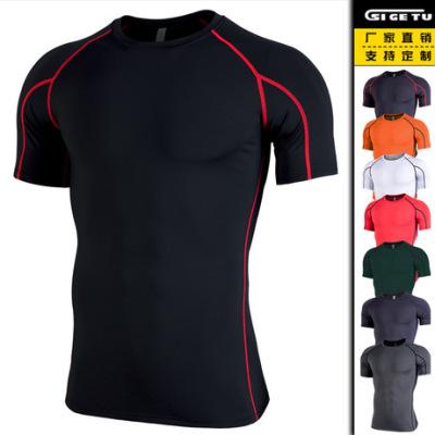 2019新款跨境精品健身服男 弹力速干紧身衣训练跑步短袖运动服装