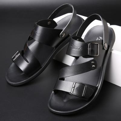 潮鲨新款休闲时尚沙滩鞋厚底耐磨凉鞋男士真皮两用凉拖鞋