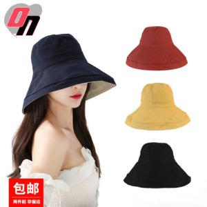 韩版新款夏季户外遮阳防晒盆帽太阳帽女士大檐可折叠双面渔夫帽