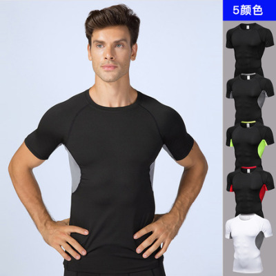 男士PRO健身 运动跑步训练短袖  排汗速干透气弹力紧身衣服B0008