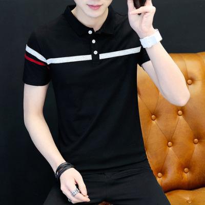 2019短袖t恤 男潮流夏季男装修身纯棉衬衫领男士polo衫半袖上衣服