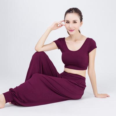 加工定制瑜伽服套装女舞蹈表演服露肚脐灯笼裤透气弹力瑜伽健身服