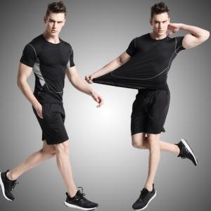 运动两件套男士新款健身服排汗速干跑步篮球训练压缩衣黑灰款