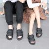 一字拖套脚帆布沙滩情侣鞋 平跟防滑休闲复古 港式男女外穿凉拖