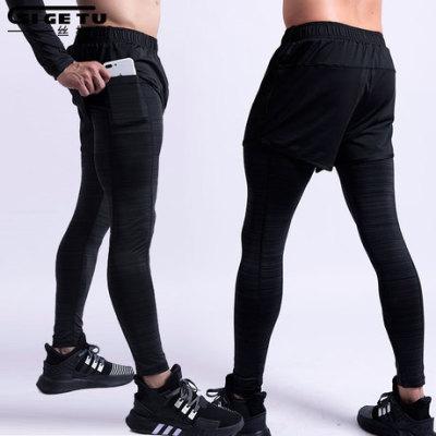 新款跨境运动裤男士弹力快干假两件长裤训练瑜伽紧身健身打底裤