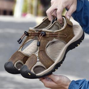 2019夏季凉鞋男新款时尚休闲鞋大码沙滩鞋牛皮男鞋透气休闲户外鞋