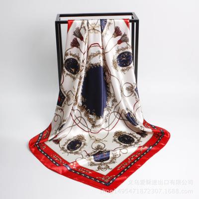 欧美丝巾Amazon新款90cm印花仿真丝女大方巾缎面围巾披肩厂家批发