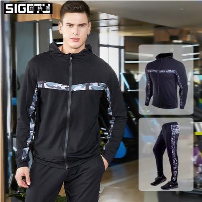 跨境 新款休闲运动套装男士迷彩拼接健身服连帽开衫外套跑步衣服