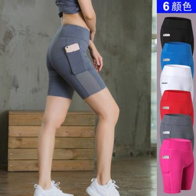 女子瑜伽短裤侧口袋 健身跑步弹力紧身 amazon速干排汗五分裤2046