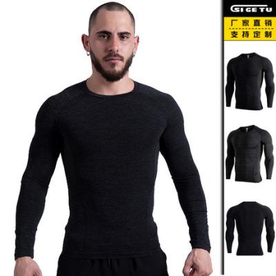 跨境专供新款健身服男士高弹速干紧身衣训练黑色跑步长袖运动服
