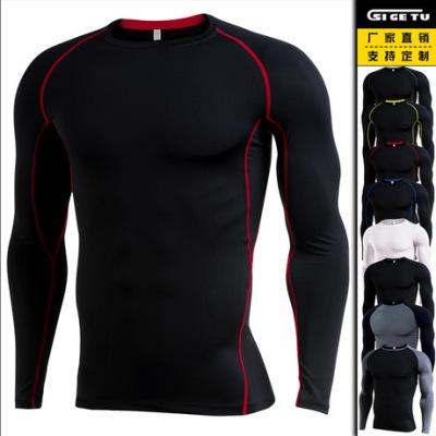 跨境 新款健身服男 长袖速干T恤紧身衣运动出汗弹力跑步pro训练服