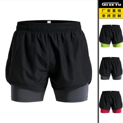 跨境假两件运动短裤男士紧身弹力瑜伽短裤速干跑步沙滩短裤女夏季