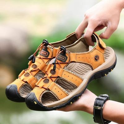 爆款凉鞋2019新款头层牛皮沙滩鞋透气男鞋时尚户外鞋舒适休闲鞋