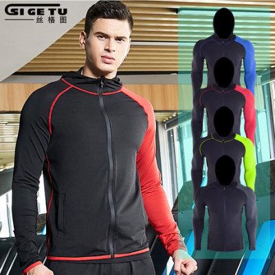 跨境 新款运动外套男士 黑红拼接休闲跑步外套 训练户外健身服装