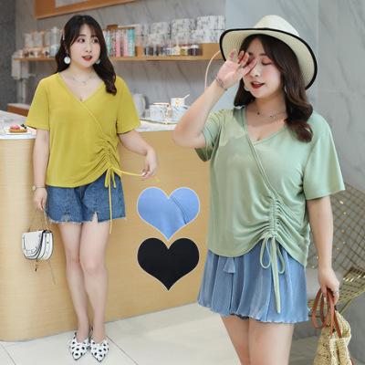 2019夏季新款大码女装胖mm短袖纯色V领侧抽绳不规则短袖T恤20682