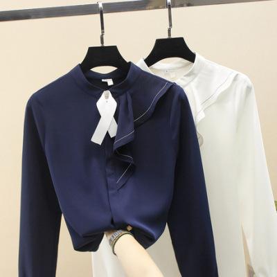 荷叶边系带衬衫女长袖上衣2018秋装新款小衫飘逸洋气超仙雪纺衫薄