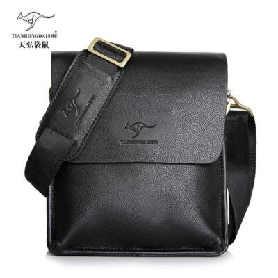 袋鼠正品男士包包2018新款横竖翻盖单肩包斜挎包商务皮包