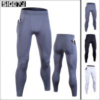 跨境爆款健身裤男弹力速干紧身裤训练瑜伽运动长裤跑步打底小脚裤