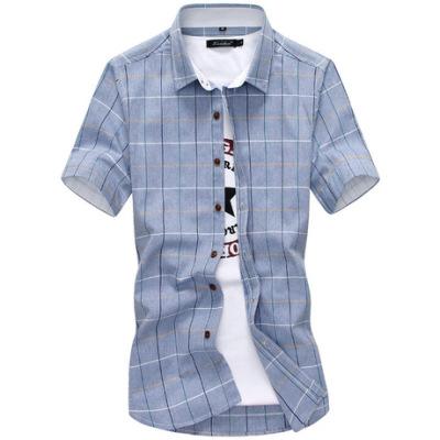 2018夏季新款男式衬衫 纯棉青年休闲男士格子短袖翻领衬衣
