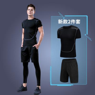 一件代发运动短袖t恤男士新款健身服排汗速干跑步篮球训练压缩衣