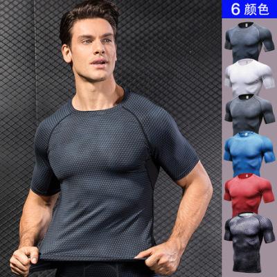 男士3D立体印花 健身跑步训练短袖 amazon紧身弹力排汗速干衣4023