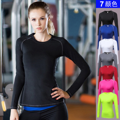 女子紧身PRO 运动健身瑜伽训练长袖T恤 吸湿排汗长袖衫衣服2039