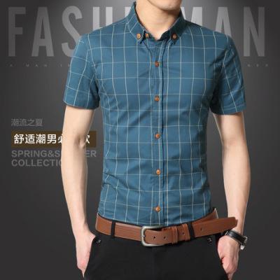 新款夏季男式短袖衬衫韩版修身青年男士休闲条纹衬衣大码男装批发
