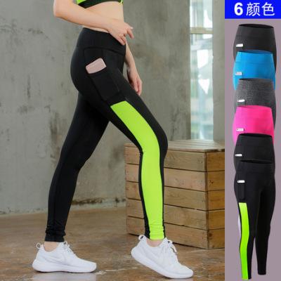 女子瑜伽长裤侧口袋 健身跑步弹力紧身 amazon速干排汗长裤2088