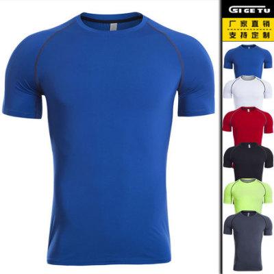 跨境爆款短袖健身服男高弹速干衣训练紧身运动T恤压缩跑步服