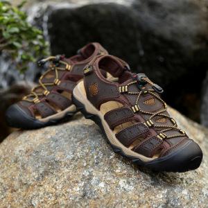 新款手工沙滩鞋男夏季爆款大码男鞋头层牛皮凉鞋透气防滑凉鞋男