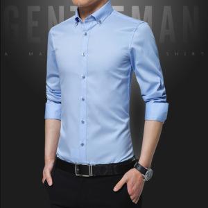 2019新款男士长袖衬衫青年商务男式外套职业装正装修身免烫衬衣男