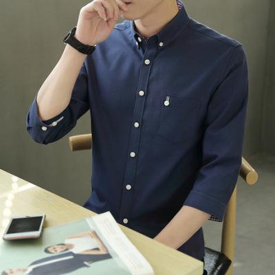 夏季休闲短袖衬衫男士韩版修身七分袖衬衫男青年中袖衬衣学生寸衫