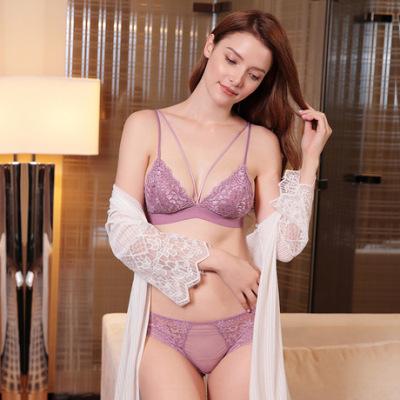 舒适bralette法式性感蕾丝内衣女9232薄款三角杯美背文胸套装6030