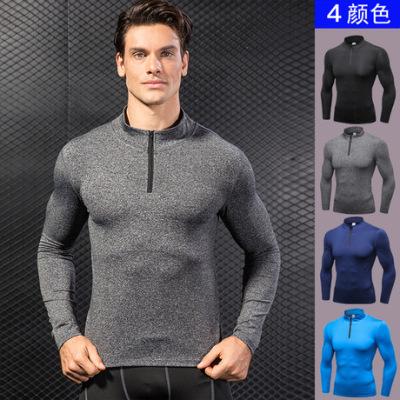 男款秋冬运动卫衣 健身跑步训练长袖 半拉链弹力速干立领卫衣9004